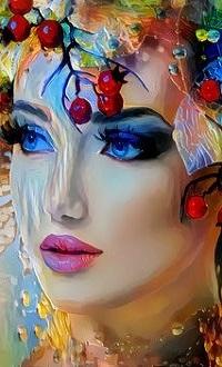 Аватар вконтакте Девушка-весна с ягодами на голове, by ACR CROART