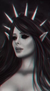 99px.ru аватар Длинноволосая девушка с демоническими глазами, by BellaDiablosita