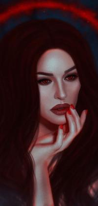 Аватар вконтакте Темноволосая девушка с алыми глазами, by BellaDiablosita