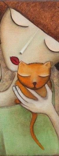 Аватар вконтакте Девушка с кошкой в руке