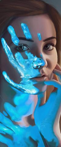 99px.ru аватар Девушка с отпечатком руки на лице, by 4thWinter