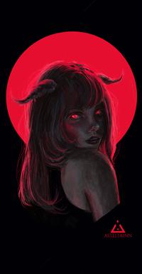 99px.ru аватар Девушка с рожками на фоне красного круга, by Asteltainn