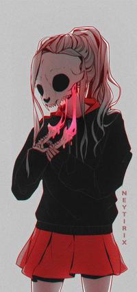 Аватар вконтакте Девушка с черепом вместо лица, by Neytirix