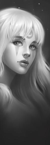 99px.ru аватар Черно-белый портрет девушки с рисунками на лице, by anavys