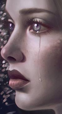 Аватар вконтакте Плачущая девушка в профиль, by palsonart