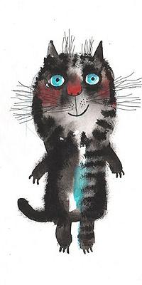 Аватар вконтакте Полосатый кот на белом фоне