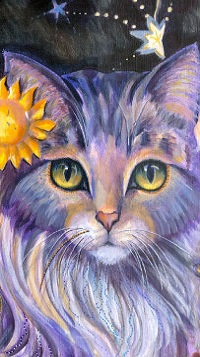 Аватар вконтакте Кошка с цветком на голове