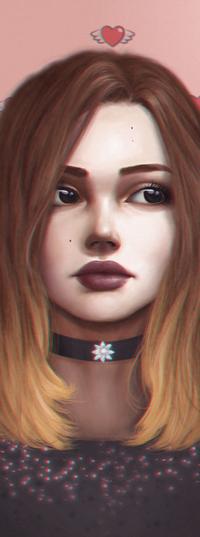 Аватар вконтакте Рыжеволосая девушка с шекером на шее, by palsonart