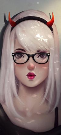 Аватар вконтакте Девушка в очках и ободке с рожками, by HashTag13