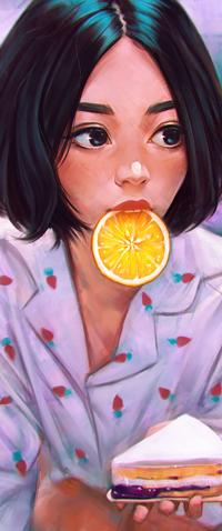 Аватар вконтакте Темноволосая девушка с долькой апельсина держит в руке тарелочку с кусочком торта, by AngelGanev
