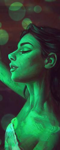 Аватар вконтакте Девушка с закрытыми глазами в профиль, by AngelGanev