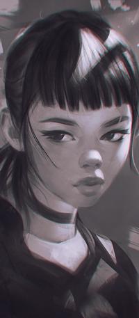Аватар вконтакте Черно-белый рисунок девушки, by AngelGanev