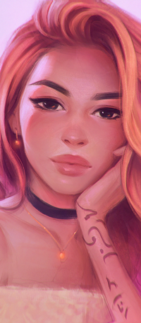 Аватар вконтакте Девушка с розовыми волосами и тату на руке, by AngelGanev