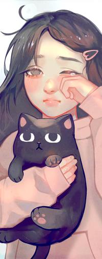 Аватар вконтакте Плачущая девушка с черным котом, by zephy0