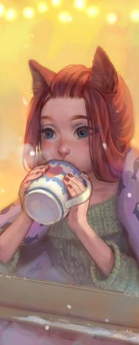 Аватар вконтакте Рыжеволосая голубоглазая девушка с лисьими ушками, с кружкой в руках смотрит в окно, by Mireys