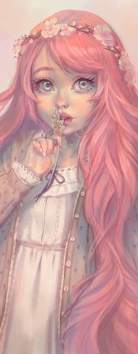 99px.ru аватар Длинноволосая девушка с цветком у губ, by Mireys