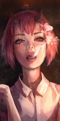 Аватар вконтакте Девушка с рожками и дымом изо рта, by Mireys