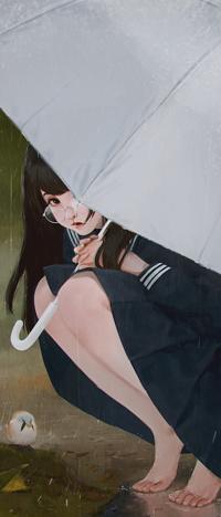 Аватар вконтакте Темноволосая девушка в очках под дождем в дождь, by webang111
