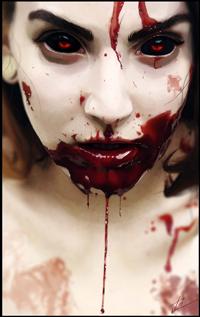 Аватар вконтакте Девушка с демоническими глазами и кровью, by peter83