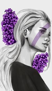 99px.ru аватар Черно-белый портрет девушки на фоне сирени, by shycatgirl