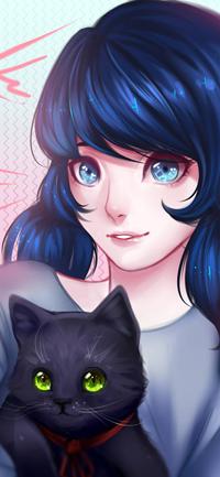 Аватар вконтакте Голубоглазая девушка с синими волосами держит черного зеленоглазого кота, by Istoma