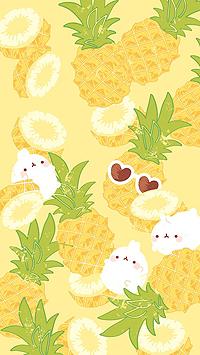 Аватар вконтакте Моланг со своими друзьями кроликами из мультфильма Моланг / Molang на фоне с ананасами