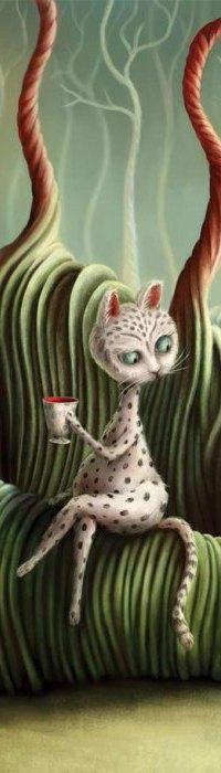Аватар вконтакте Смешная кошка с чашкой в лапе, художница из Англии Demelsa Haughton