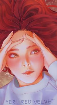 99px.ru аватар Рыжеволосая девушка с руками у лица (YERI Red Velvet), by Aniitsu