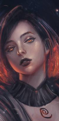 Аватар вконтакте Рыжеволосая девушка с знаком на грудной клетки, by trungbui42