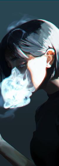 Аватар вконтакте Девушка с дымом у лица, by Sh1chiro