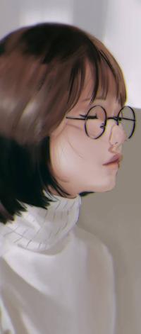 Аватар вконтакте Азиатская девушка в очках, by Sh1chiro