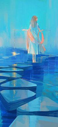 Аватар вконтакте Девушка стоит на каменной дорожке в воде