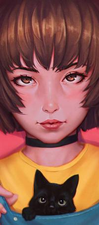 Аватар вконтакте Рыжеволосая девушка с черным котиком, by rotisusu