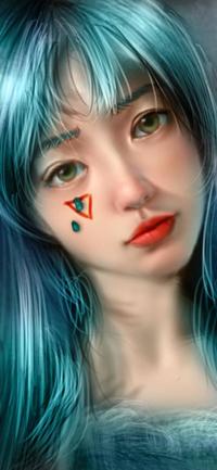 Аватар вконтакте Девушка с голубыми волосами, by NagaW
