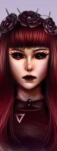 Аватар вконтакте Рыжеволосая девушка с демоническими глазами, by NagaW
