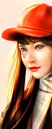 Аватар вконтакте Длинноволосая девушка в красной бейсболке, by NagaW