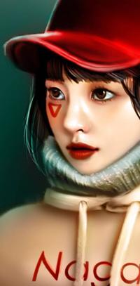 Аватар вконтакте Азиатская девушка в красной бейсболке, by NagaW