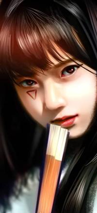 Аватар вконтакте Азиатская девушка с закрытым веером у лица, by NagaW