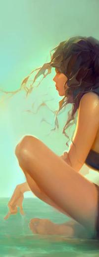 99px.ru аватар Темноволосая девушка в профиль, by Goshun