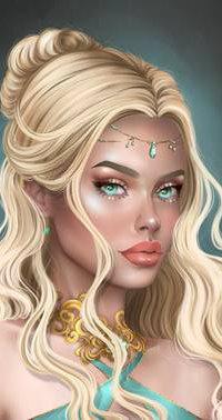 99px.ru аватар Девушка - блондинка с украшениями на лбу и шее, by Heszperia