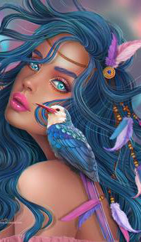 Аватар вконтакте Девушка с голубыми волосами и колибри на плече, by Heszperia
