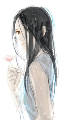 99px.ru аватар Темноволосая девушка с цветком, by Geum-song