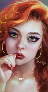 99px.ru аватар Рыжеволосая зеленоглазая девушка, by Elvanlin