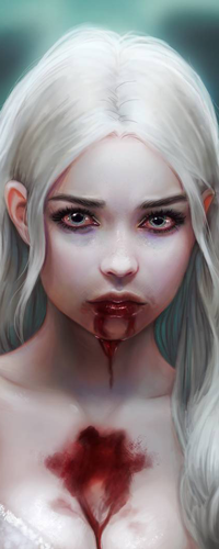 Аватар вконтакте Белокурая голубоглазая девушка с кровью на лице, by Elvanlin