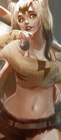 Аватар вконтакте Длинноволосая девушка с битой под дождем, by Windami