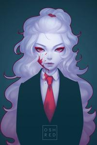 Аватар вконтакте Белокурая девушка в костюме, с кровью на щеке, by oshRED