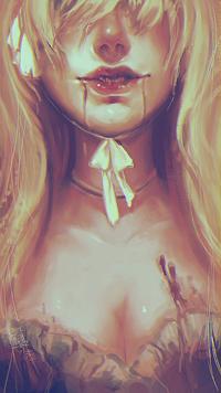Аватар вконтакте Белокурая девушка с кровью у губ, by vtas