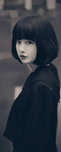 Аватар вконтакте Черно-белый рисунок девушки, by lenadrofranci