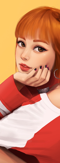 Аватар вконтакте Рыжеволосая девушка на желтом фоне, by umigraphics