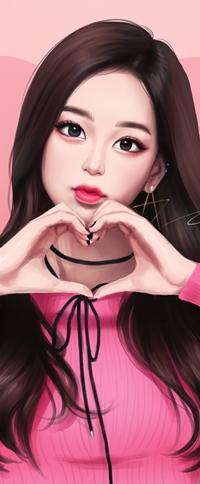 Аватар вконтакте Длинноволосая девушка с сердцем руками, by umigraphics